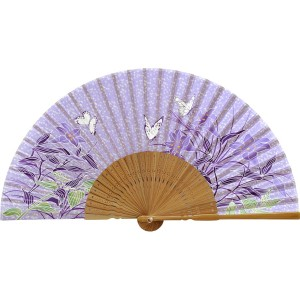 扇子 婦人用 蝶 紫 唐木 121008