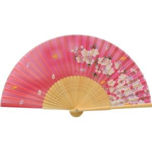 扇子 婦人用 シルク 桜 白竹 赤 121009