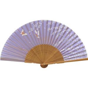 扇子 婦人用 唐木 シルク 蝶 紫 121012